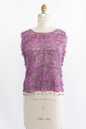 1960s Sheer Purple Beaded Top - M