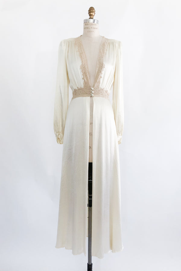 1930s Candlelight Satin V-neck Dressing Gown - S/M
