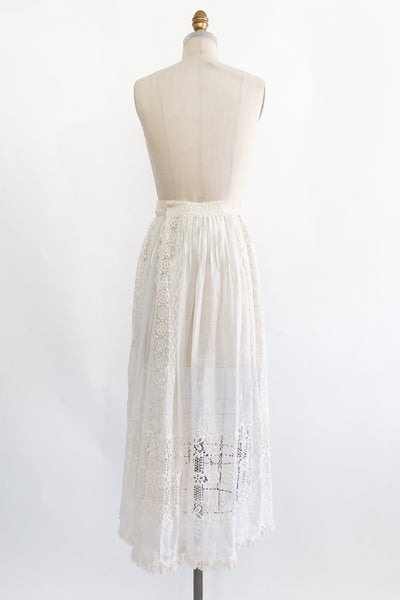 Antique Cotton Muslin Embroidered Skirt- M