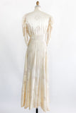 1930s Ivory Embroidered Satin Dressing Robe - M