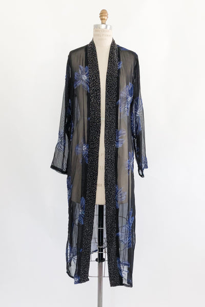 1980s Black Silk Beaded Duster with Florals - S/M