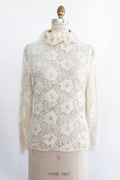 1960s Sequined High Neck Lace Top - XS/S