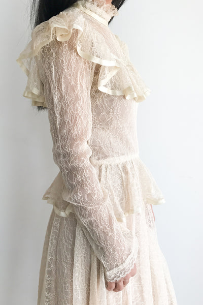 1980s Sheer Lace Victorian-Inspired Dress - XS/S