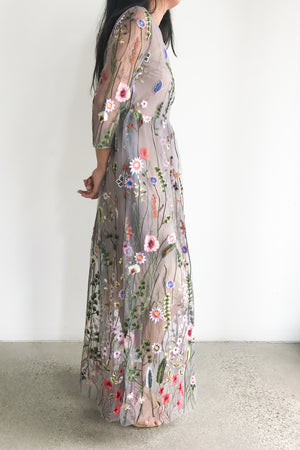 Embroidered Maxi Dress Over Purple/Gray Tulle - S