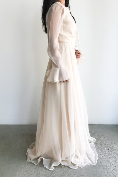 1960s Shell Pink Chiffon Gown - S