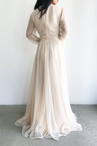 1960s Shelly Pink Chiffon Gown - S