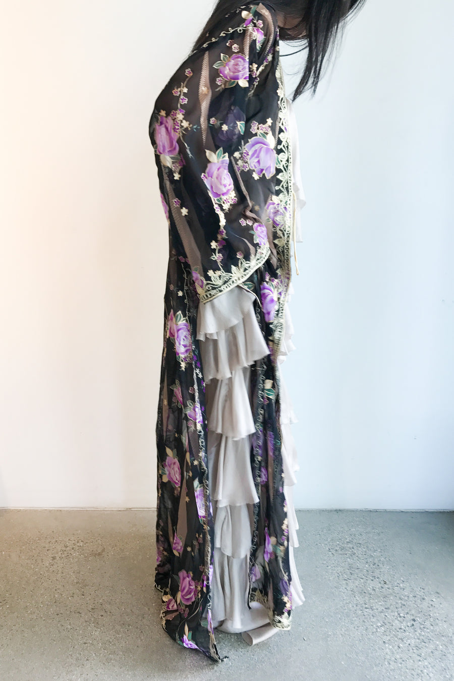 1960s Purple Floral Kaftan/Duster - One Size