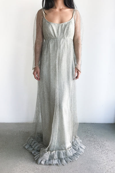 1960s Metallic Empire Mesh Gown - XS