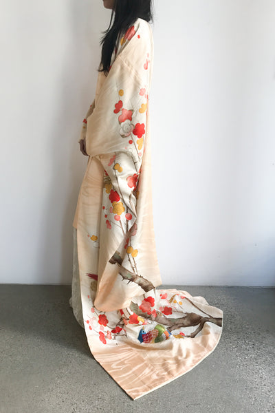 Vintage Silk Floral Kimono with Long Sleeves and Cherry Blossoms - One Size