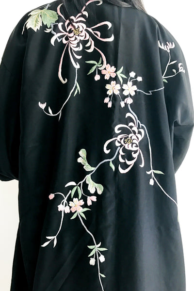 Vintage Black Rayon Floral Embroidered Kimono - One Size