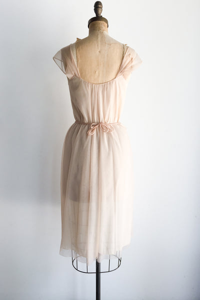 1950s Dusty Rose Pink Sheer Slip Gown - S