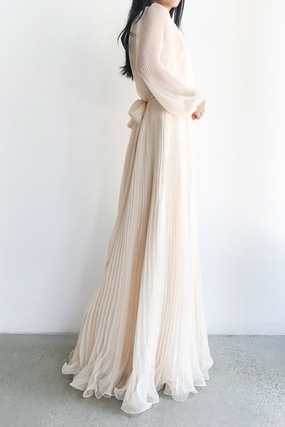 1970s Shell Pink Pleated Gown - S