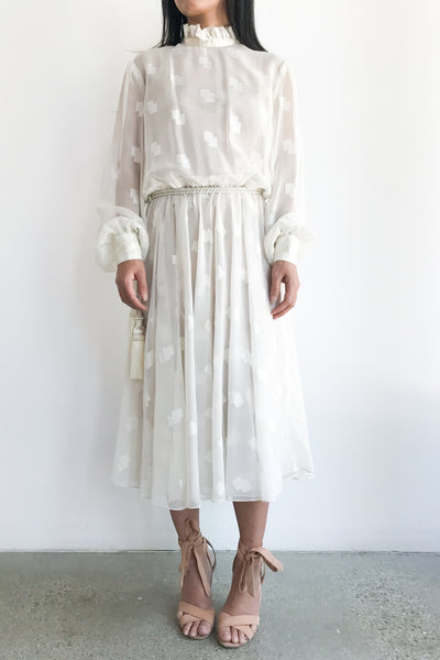 1980s Chiffon Poet Sleeve High Neck Dress - S/M