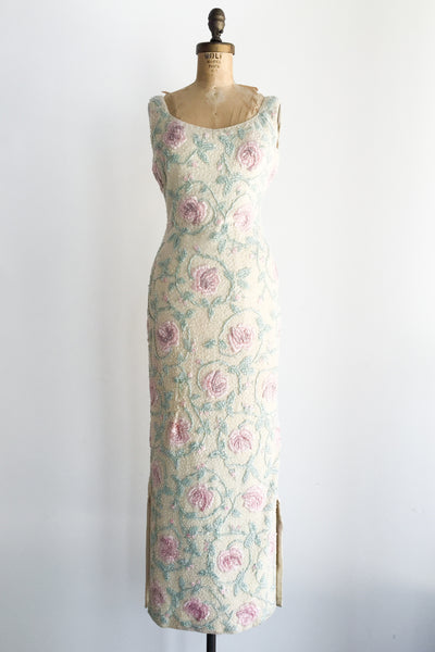 1960s Rose Beaded Wool Dress - S