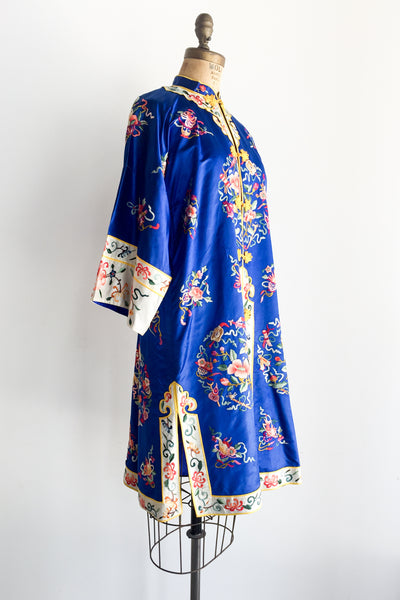 Vintage Cobalt Blue Silk and Satin Robe - M