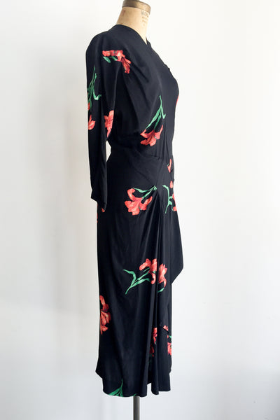 1940s Black Rayon Iris Dress - M