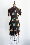 1940s Chocolate Rayon Sequined Floral Dress - XS/S