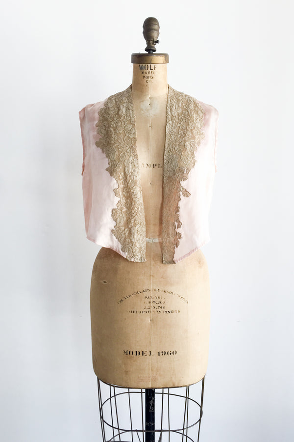 1920s Silk Peach and Ecru Lace Jacket - S/M