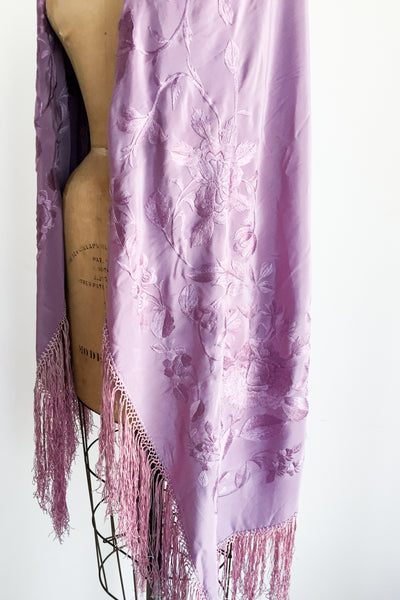 1920s Lavender Silk Embroidered Shawl - 50x50