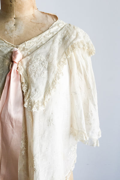 Antique Edwardian Embroidered Silk Muslin Jacket - One Size