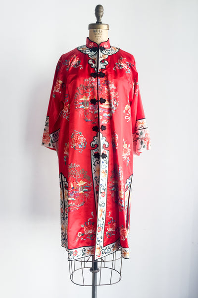 Vintage Red Silk and Satin Embroidered Robe - M