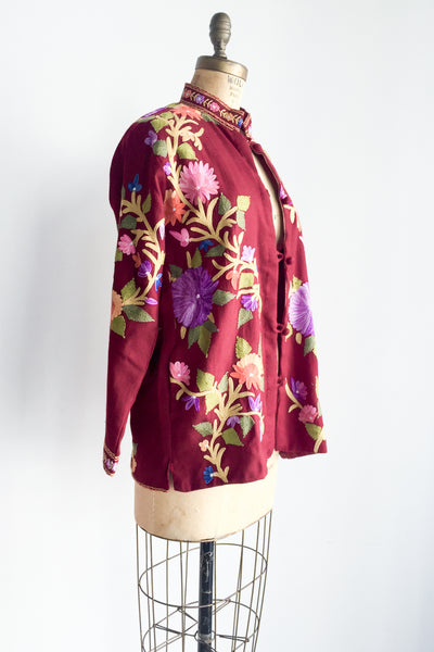 1970s Burgundy Embroidered Cashmere Jacket - M