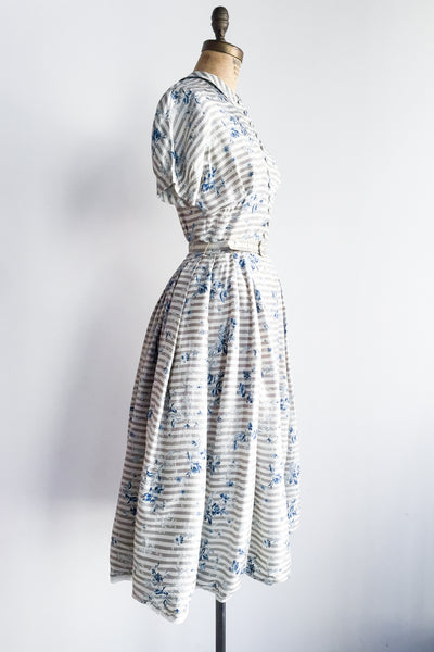 1950s Nipped Waist Raw Silk Printed Dress - S