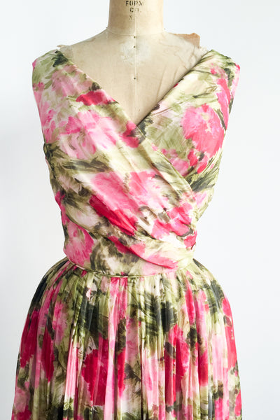 1950s Silk Chiffon Rose Print Dress - S