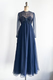1960s Navy Blue Chiffon Empire Beaded Gown with Scarf- XS/S