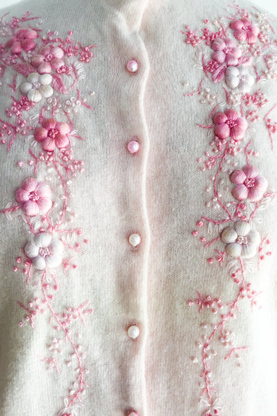 1950s/60s Pink Embroidered Cardigan - M/L