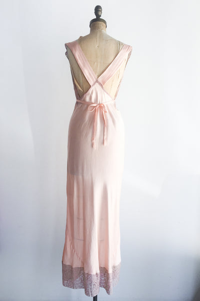 1930s Silk Charmeuse and Plum Lace Bias Gown - S/M