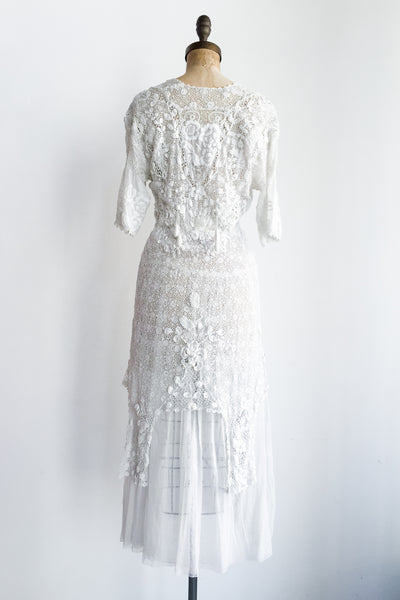 Edwardian Irish and Embroidered Batiste Dress - S