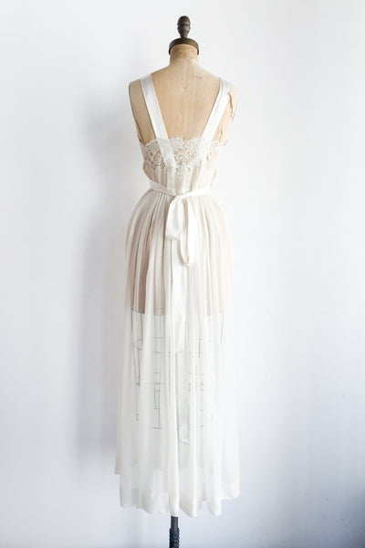 1950s Pure Silk Sheer Slip Gown - S