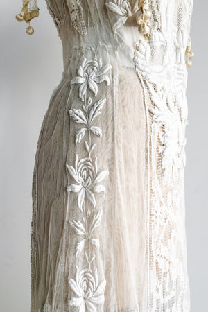 Antique Tulle Embroidered Lace Dress with Filet Lace - XS/S