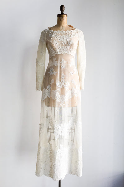 1960s Sheer Empire Lace Gown - XS/S