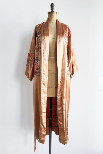 Vintage Silk and Satin Copper Kimono Embroidered Robe - One Size
