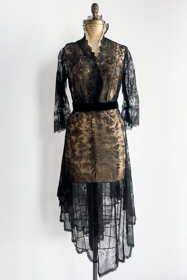 Antique Black Silk Lace Dress - S