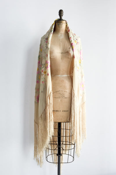 1920s Ivory Silk Piano Shawl -  One Size