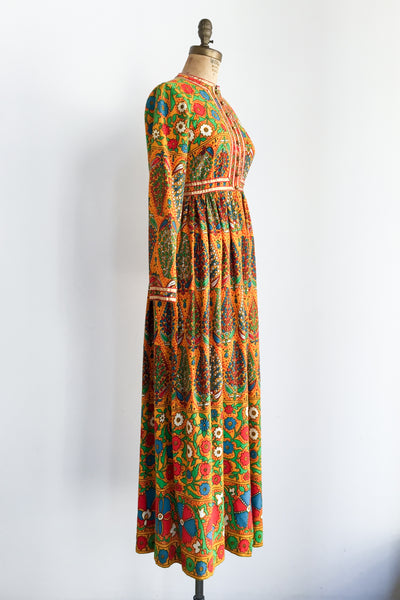 1960s/70s Abstract Long Sleeve Dress - XS