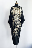 Antique Black Silk Kimono with Ivory Flowers - One Size