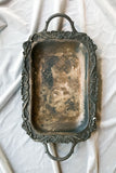 Antique Detailed Metal Tray with Bas-Relief Mouldings