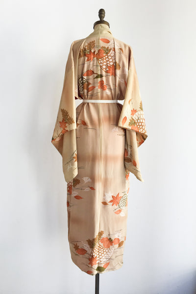 1940s Muted Orange Silk Kimono with Floral Print - One Size