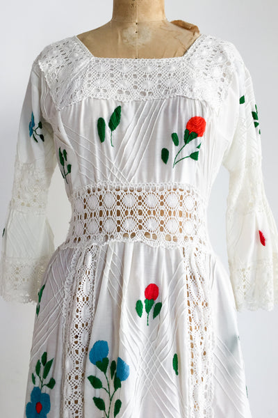 1970s Bell Sleeved Embroidered Cotton Dress - S