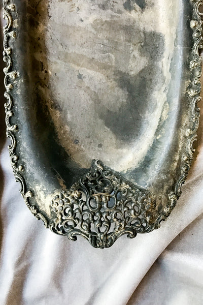 Antique Metal Cutout Tray