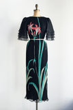 1980s Black Chiffon Pleated Floral Print Dress - M