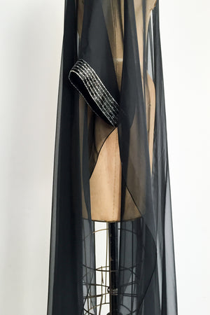 1960s Black Chiffon Split Duster - S/M