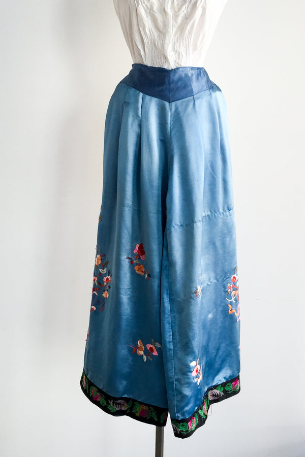 1920s Silk Embroidered Wide Leg Pants - XS