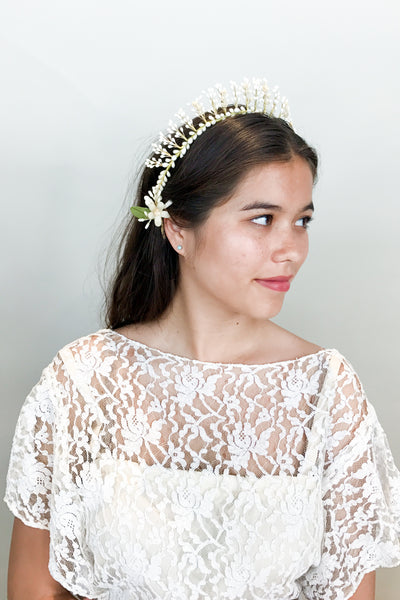 1930s Starburst Wax Bud Tiara - One Size
