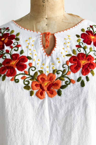 1970s Embroidered Cotton Gauze Top - S