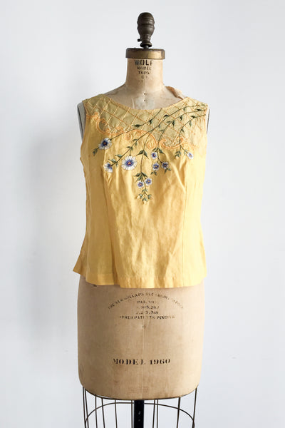 Vintage Linen Embroidered Top - M